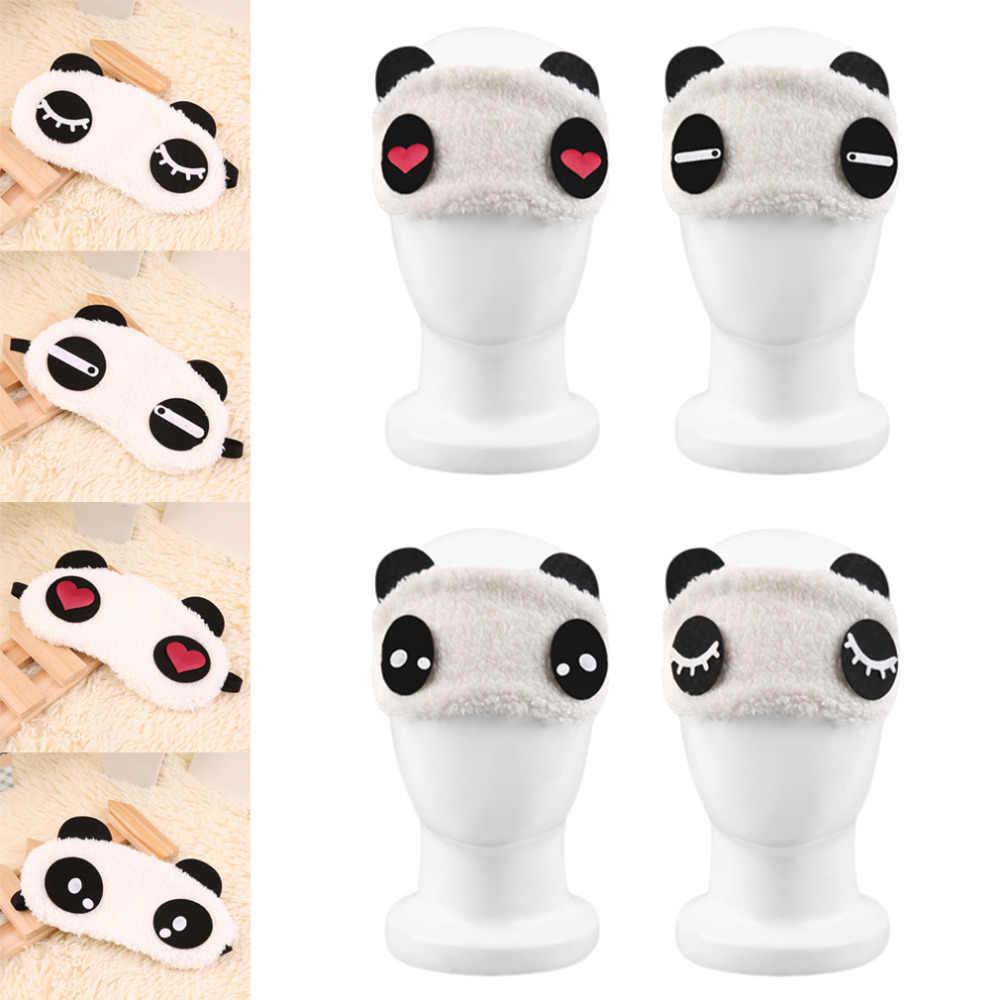 Moda sevimli tasarım peluş Panda yüz göz seyahat uyku yumuşak göz maskesi körü körüne gölge siperliği taşınabilir uyku göz kapağı