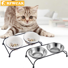 RFWCAK 2018 New Double Ceramics And Stainless Steel Pet Bowls For Cat Puppy Non-Slip Food Water Dual-use Feeding Dish Supplies
