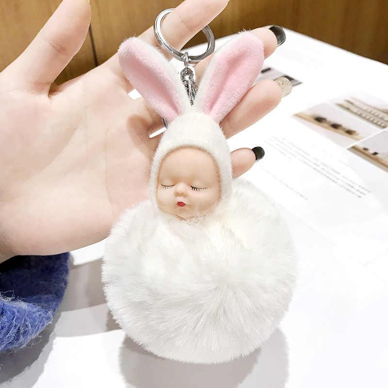 Boneca de Brinquedo do bebê saco de Dormir Do Bebê Boneca de Brinquedo Saco Anel Chave Chaveiro Para As Mulheres Macio da Pele Do Falso de Pelúcia Chaveiros