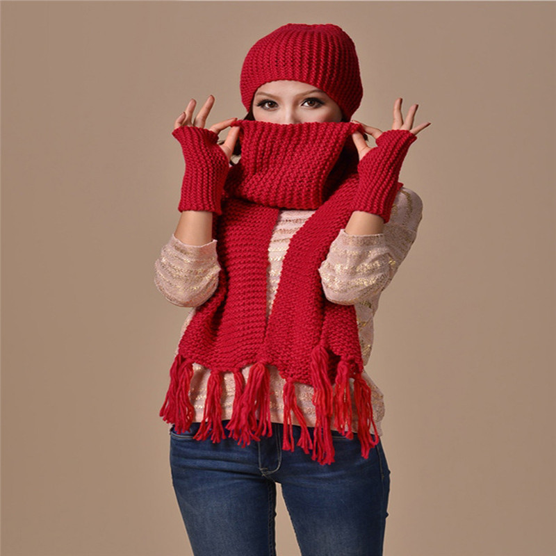 2016 New Fashion Women Scarf Set Thick Warm Hat Scarf and Gloves Set Winter Hats Scarfs Sets Women's Hats