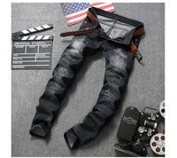 male European and American design The new hole zipper Jeans Mens Black Long pants brand new stylish WY988
