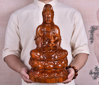 GOOD Buddha HOME Temple Spiritual protection Bless family # Handmade Yellow pear wood carving Lotus Guanyin Buddha statue