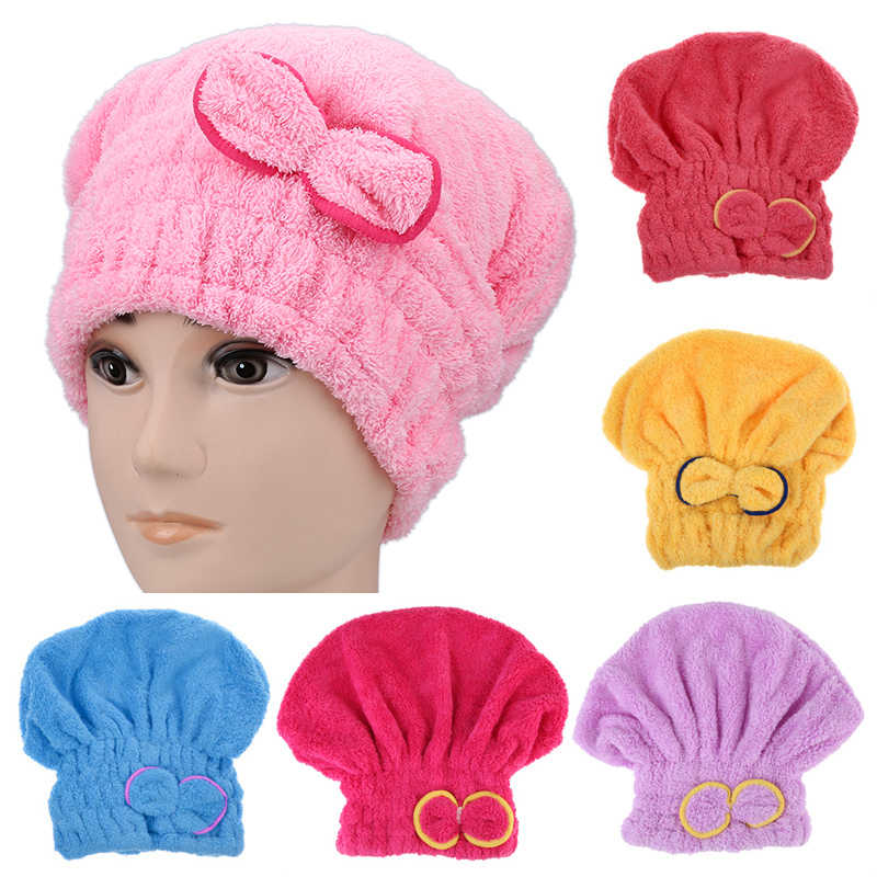 Women Magic Quick Dry Hair Drying Cap Towel Head Wrap Hat Bathing Tool Accessories PinK Rose Blue Red Yellow Purple Available