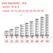 20 pcs/lot 0.8mm 0.8x6mm Stainless steel kompresi musim semi kawat diameter 0.8mm diameter luar 6mm panjang 15-50mm(China)