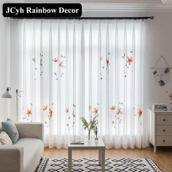 Mano moderno Floral pintado de blanco tul Cortinas para la sala de estar dormitorio Organza Cortinas persianas Cortinas