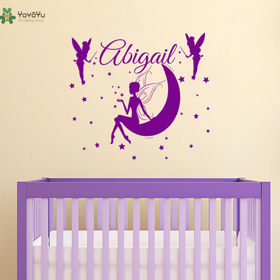 YOYOYU Wall Decal Vinyl Removeable Fairy Wall Decals Girl Name Decal Mural Baby Nursery Kids Bedroom Poster wall sticker YO371 in Wall Stickers from Home Garden