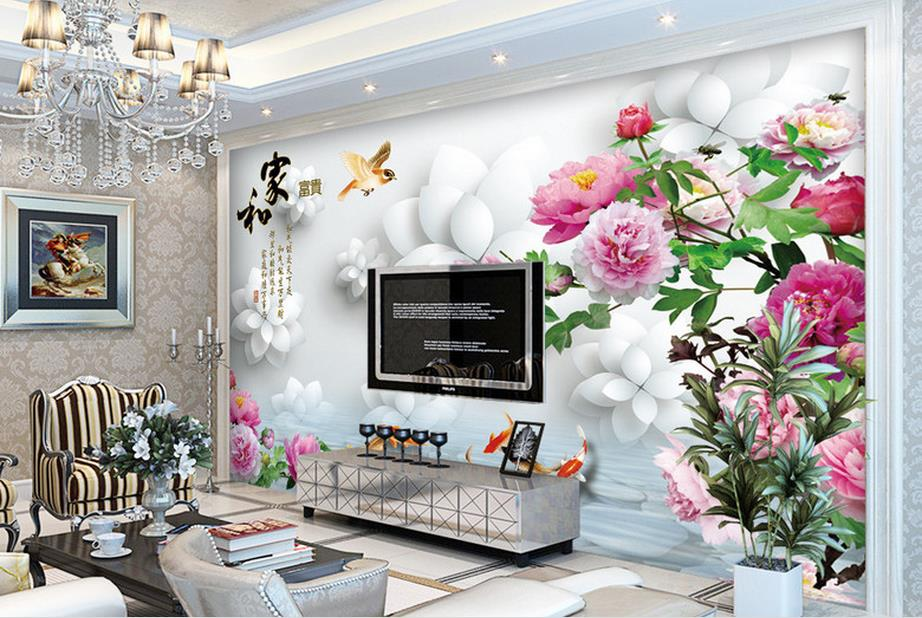 customize 3d wall papers home decor living room Nine fish figure rich peony 3d wall murals 3d stereoscopic murals wallpaper