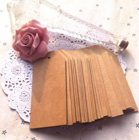 4.5 * 9.5 Cm Retro Large Square Blank Kraft Paper Tags Jewelry Price Tags Card Tags With Hemp Rope 200 Pcs/lot