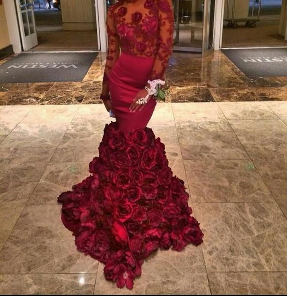 Sexy Backless Mermaid Burgundy Flower   Prom     Dresses   Custom Made Long Sleeve Flower Cheap   Dress   Party Evening Gowns