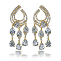 Women fashion Earring Cubic zirconia big tassel drop Earrings gold plated wedding jewelry romantic forever love Free shipment