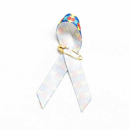 100pcs Autism Ribbon Pin Awareness Ribbon Pins Autism Awareness Multi-color  Puzzle Ribbon Brooch