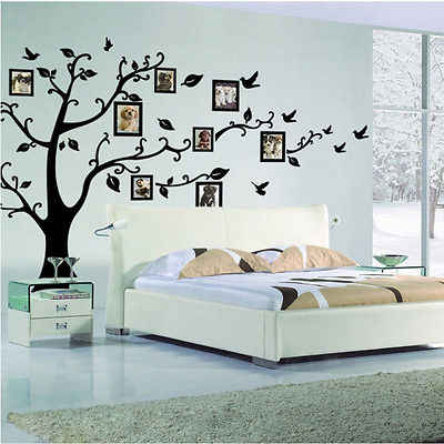 Large Family Photo Frame Tree Bird Quotes Wall Sticker Art Decals Big tree for  photo wall stickers for Home Decor