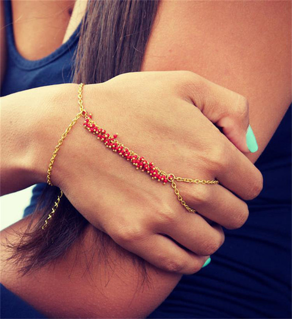 H:HYDE Red Blue 2 colors Slave Hand Finger Bracelets & Bangles for Women Fashion Charms Harness Pulseiras Mujer Bijoux