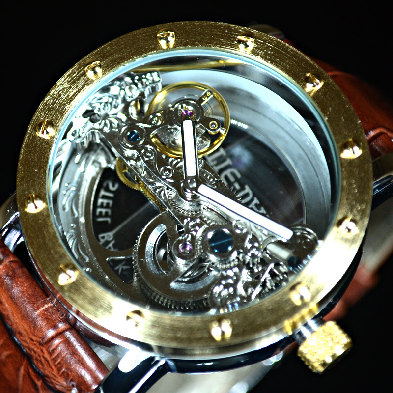 Luxury Brand TIEDAN Transparent Men Mechanical Watch Gold Tourbillon Skeleton Automatic Watches Mens Wristwatch Leather Clock luxury brand tiedan transparent men mechanical watch gold tourbillon skeleton automatic watches mens wristwatch leather clock