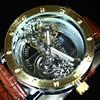 Luxury Brand TIEDAN Transparent Men Mechanical Watch Gold Tourbillon Skeleton Automatic Watches Mens Wristwatch Leather Clock