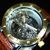 Luxury Brand TIEDAN Transparent Men Mechanical Watch Gold Tourbillon Skeleton Automatic Watches Mens Wristwatch Leather Clock