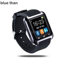 Azul reloj de u8 reloj bluetooth smart watch para android mensaje push conectividad bluetooth del teléfono android