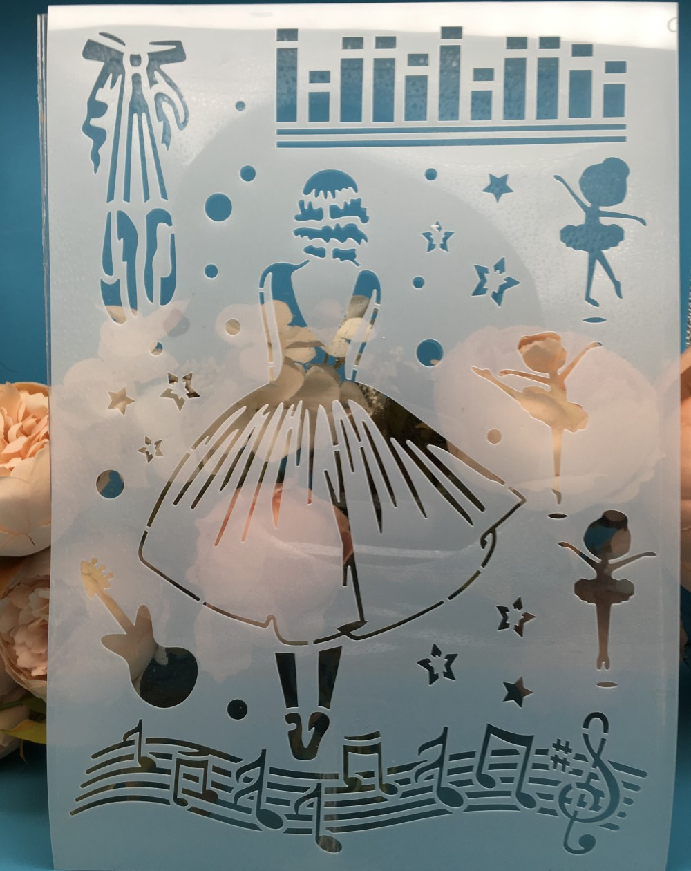 A4 Dress Girl Music DIY Layering Stencils Wall Painting Scrapbook Coloring Embossing Album Decorative Card Template