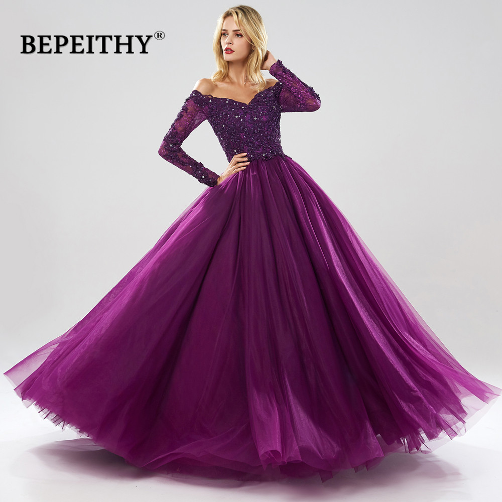 BEPEITHY Long Sleeves Ball Gown Evening Dresses Sweetheart Robe De Soiree Green Evening Dress Party 2020 Abendkleider