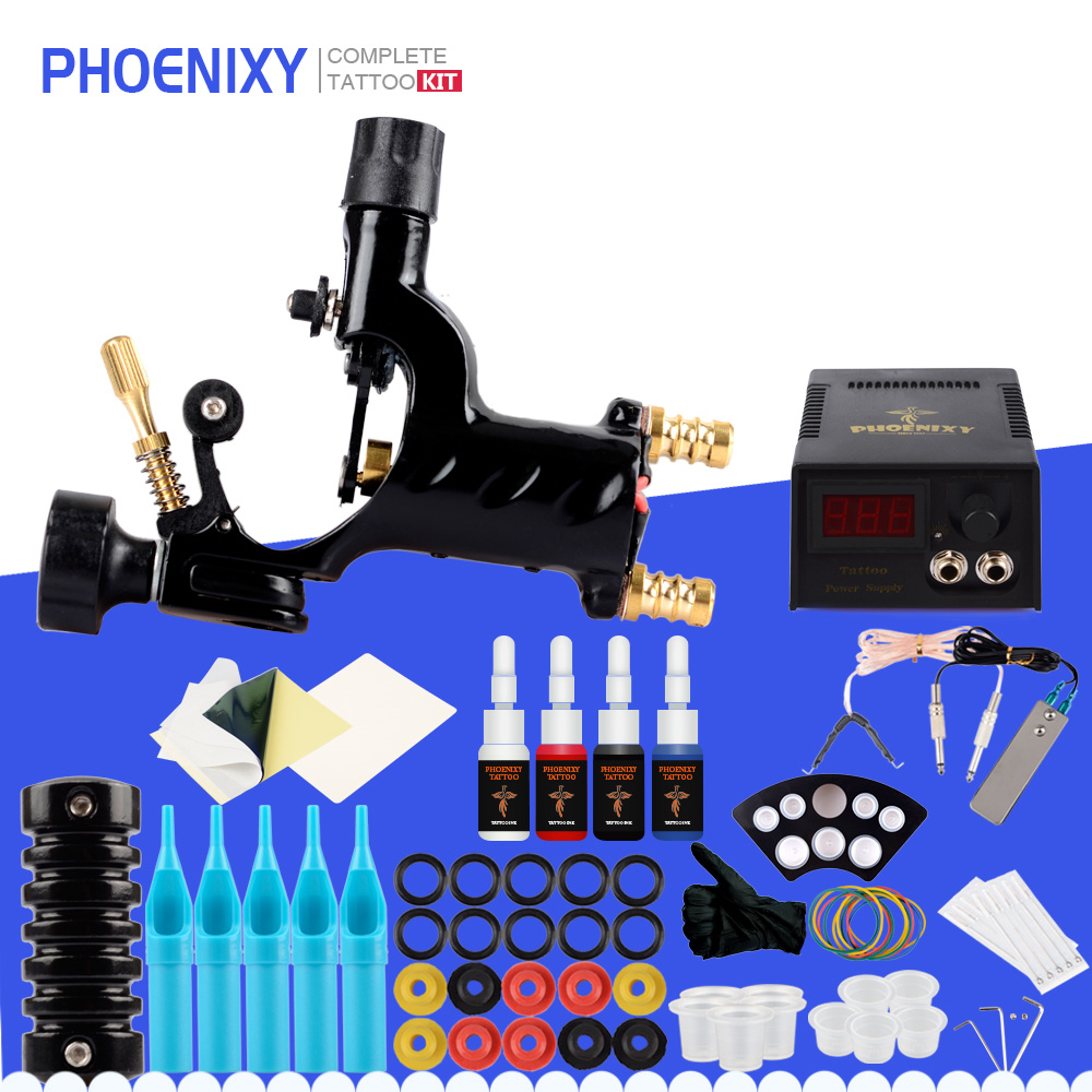 Beginner Rotary Tattoo Machine Gun Set 4 Colors Inks Pigment Sets LCD Power Supply Needles Body Art Permanent Makeup Tattoo Set-in Tattoo Kits from Beauty & Health on Aliexpress.com | Alibaba Group