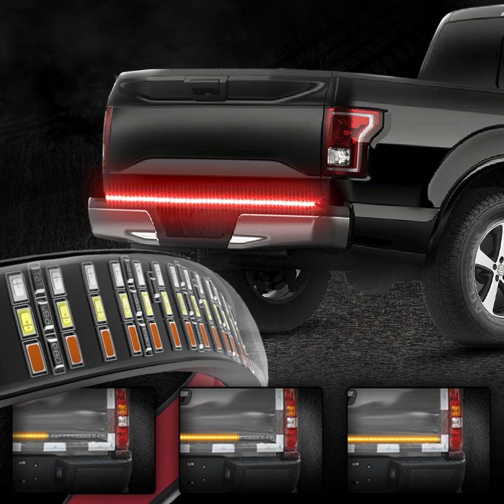 Mictuning 60 Triple Row Led Tailgate Light Bar With Solid Amber Turn Signal Red Brake Running White Reverse Lights In Car Embly From Automobiles