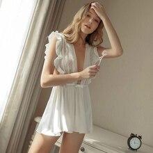 f51754c6ad Black White Wedding Women Temptation Lingerie Passion Deep V Ultra Short  Sexy Nightgown Ruffles Satin Back