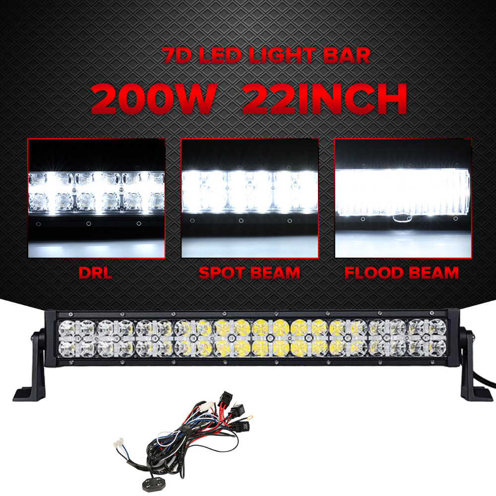 Partol 7D 22 200W LED Light Bar CREE Chips Offroad Led Work Light Driving Lamp Combo Beam Truck SUV Boat ATV 4x4 4WD 12V 24V oslamp 32 300w cree chips led work light bar offroad led bar lights combo beam led driving lamp for truck suv 4x4 4wd 12v 24v