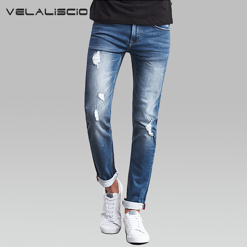 VELALISCIO 2017 Jeans Spring summer Large Size Elastic Trend Hole Knitting Plus Fertilizer To Increase The Thin Feet Jeans Men calida elastic trend бюстье розовый