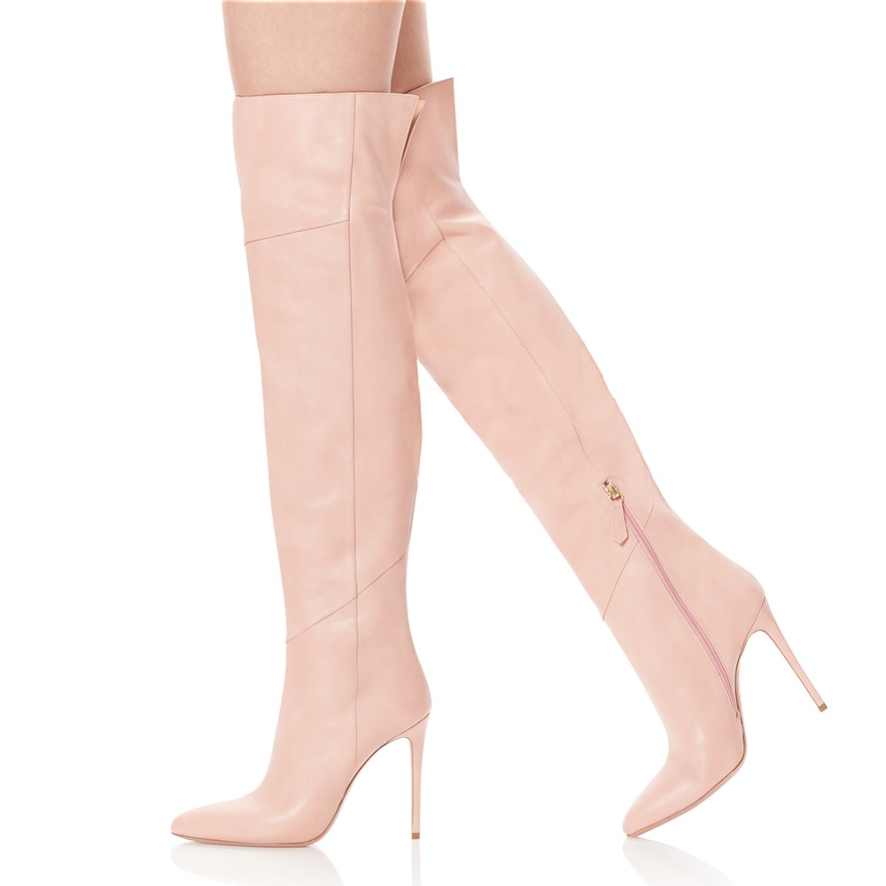 Women High Heel Pointed Toe Black Patent Leather Over The Knee High Boots Pink Pointy Long Boots Ladies Winter Heels PU Shoes women long boots stretch pu red black patent leather over the knee high sexy ladies party high heels platform shoes