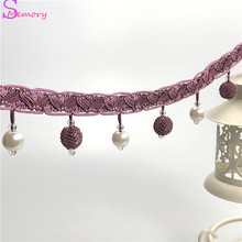12M Crystal beads Curtain Trim Lace Tassels Europe Curtain Hanging Ball Tie Back Straps Holders Accessories Home Decoration