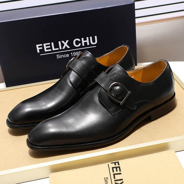 New Mens Monk Strap Dress Shoes Genuine Cow Leather Pointed Toe Wedding Party Formal Office Footwear for Male Buckle Strap Flats