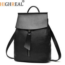 HIGHREAL Women Leather Backpack Small Minimalist Solid Black School Bags for Teenagers Girls Feminine Backpack  sac a dos femme