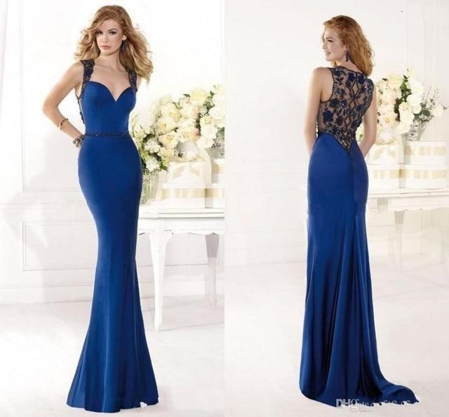 Online Shop Vestidos De Festa Chiffon Mermaid Royal Blue Evening ...