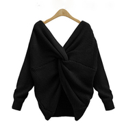 New 4 colors V Neck Twisted Back Sweater Women Jumpers Pullovers Long Sleeve Knitted Sweaters Criss Cross Mujer Vestidos