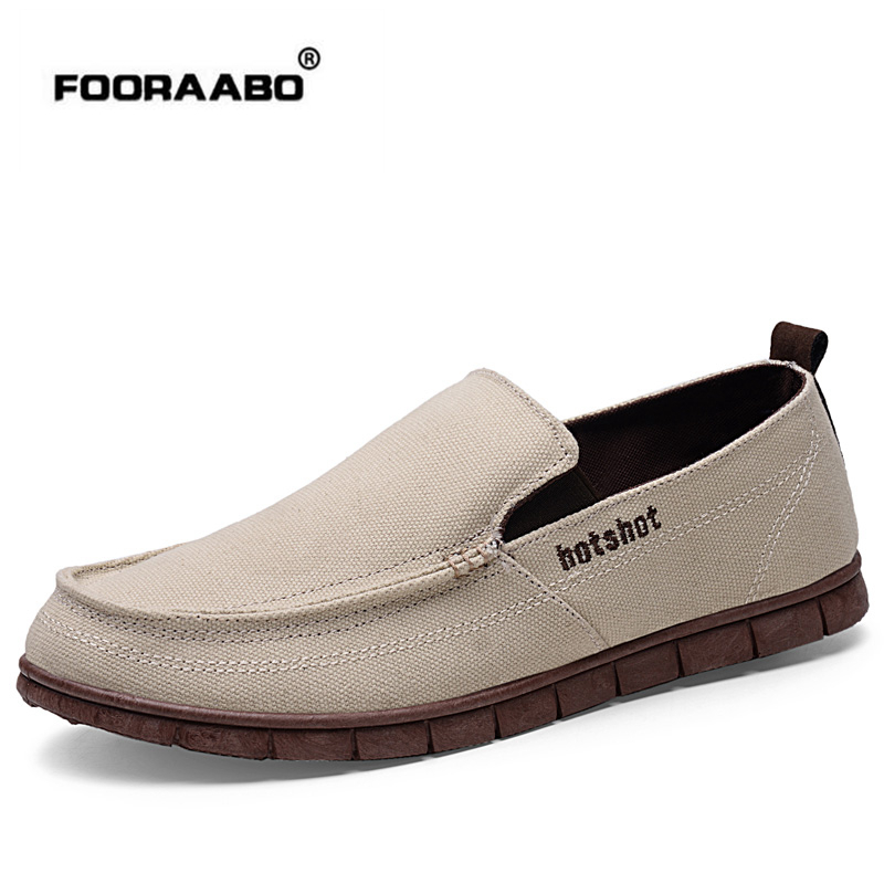 Fooraabo 2018 Summer Casual Men Canvas Shoes Breathable Flats Men Shoes Slip On Mens Fashion Jeans Lazy Shoes Chaussure Homme