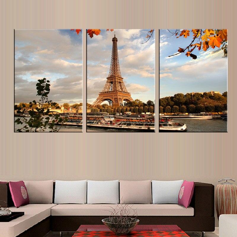 Aliexpress Com Buy 3 Pieces Wall Art New York City: Aliexpress.com : Buy 3 Pcs/Set Landscape The Eiffel Tower