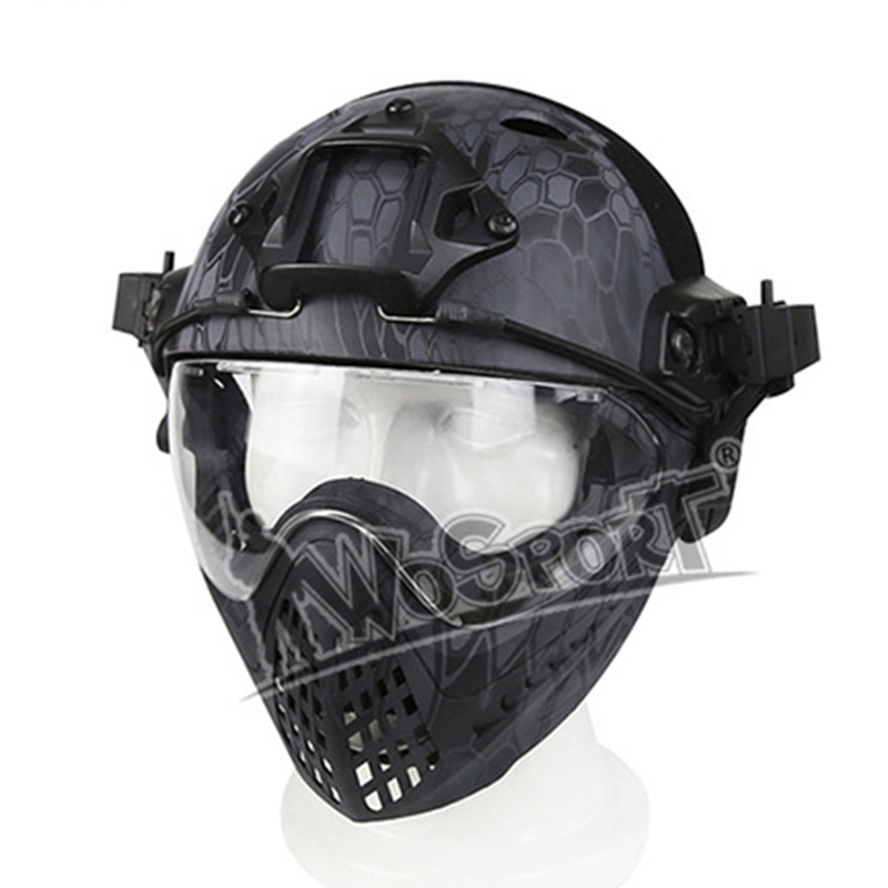 High Quality Full-covered Military Helmet Protective Army Combat Airsoft Paintball Helmet Mask Goggle Safety Tactical Helmet