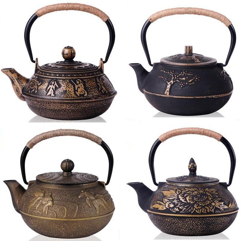 Nuevo Japón Tetera De Hierro Fundido sin recubrimiento Kung Fu té olla con filtro De pintado a mano Tetera De Hierro Fundido vasos 6 estilo