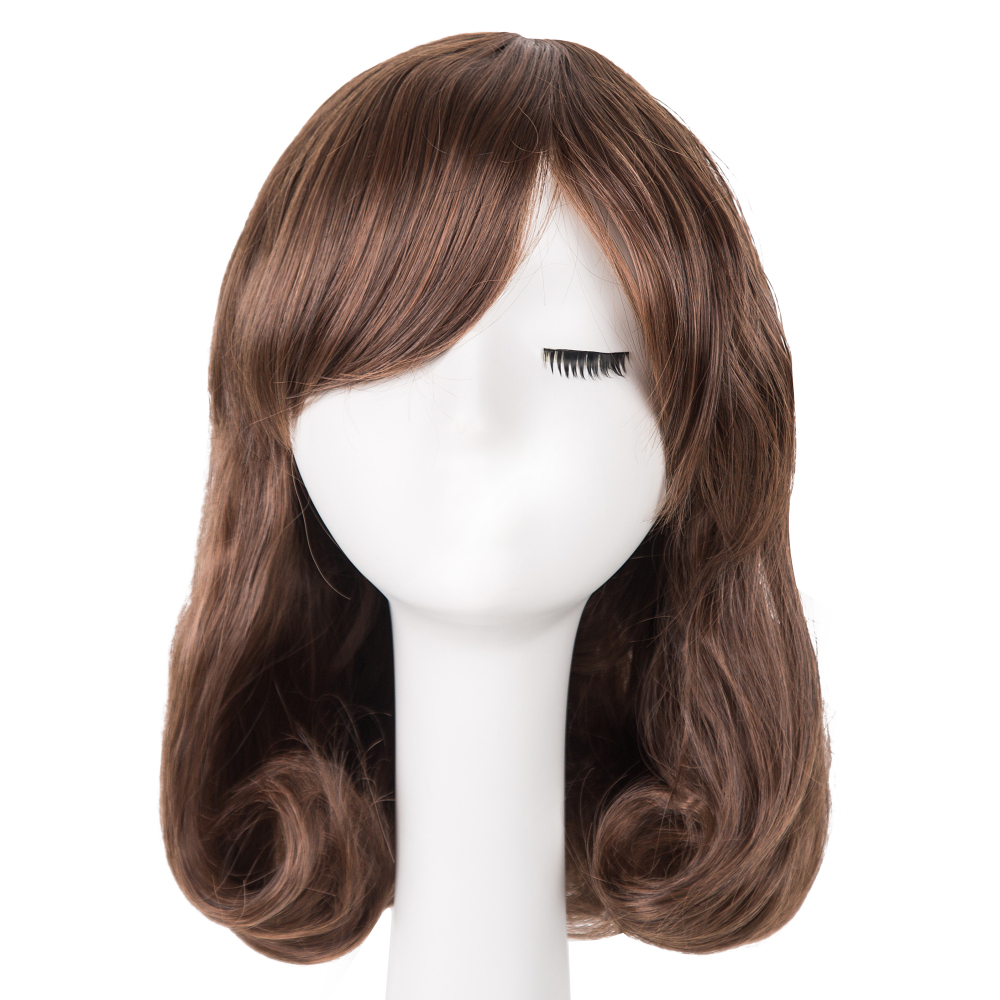 Black Bob Wig Fei-show Synthetic Heat Resistant Fiber Oblique Bangs Short Wavy Cosplay Halloween Carnival Hair Women Hairpieces Synthetic Wigs