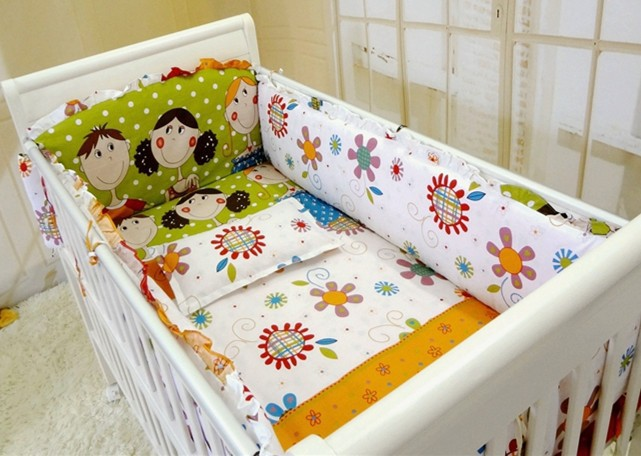 Promotion! 6PCS Baby Bedding Set Cot Crib Bedding Set for girls boys (bumper+sheet+pillow cover) promotion 6pcs baby crib bedding set for girl boys bedding set kids cot bumper baby cot sets include 4bumpers sheet pillow