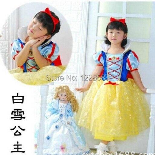 Hot Sale Disfraz Princesa Girls 90cm-160cm Snow White Branca De Neve Birthday Party Costume Dress Vestido Fantasia De Princesas