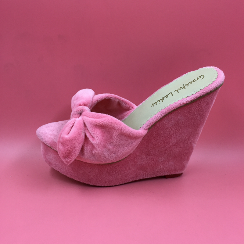 Pink Platforms Bow Knot Women Slipper Open Toe Wedge Slides Shoes Women Plus Size 45 Open Heels Wedge Sandal Slippers Real Photo sweet wedge heel and knot design sandal for women