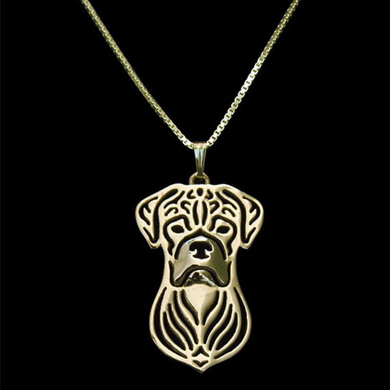 Boxer Dog Puppy Pendant Necklaces Gold Color Hallow Animal Necklace Christmas Gift For Pet Lovers Dog Jewelry 10pcs