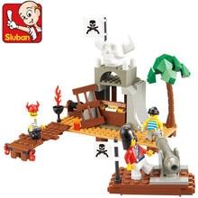 Blocos de Construção Sluban 142 pcs Pirata Figuras de Brinquedo Educacional Crianças 3D Construção de Tijolos Brinquedos para As Crianças