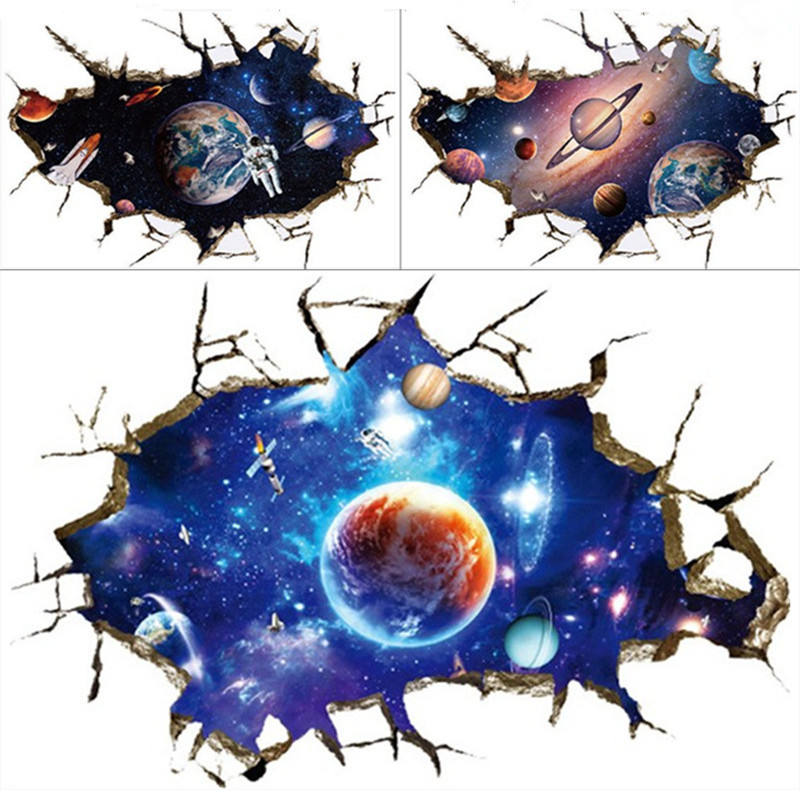 universe galaxy break wall vinyl stickers planet star spaceship 3d art mural for kids rooms. Black Bedroom Furniture Sets. Home Design Ideas