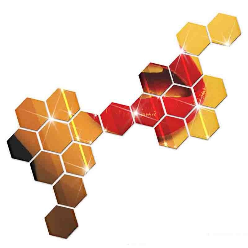 7 Piece Hexagon Acrylic Mirror Wall Sticker-Free Shipping Living Room mirror wall stickers