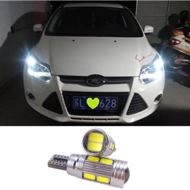 Hot T10 LED W5W Car LED Auto Lamp 12V Light bulbs with Projector Lens for ford focus 2 3 fiesta mondeo ecosport kuga drl wljh 2x canbus car 5630 smd t10 led w5w projector lens auto lamp light bulbs for ford focus 2 3 fiesta mondeo ecosport kuga drl