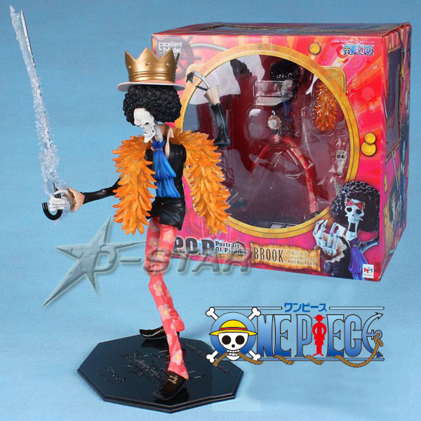 Free Shipping Cool 12 Big Size One Piece Anime P.O.P Brook Boxed 29cm PVC Action Figure Collection Model Doll Toy Gift brand new portrait of pirates one piece roronoa zoro 23cm pvc cool cartoon action figure model toy for gift kids free shipping