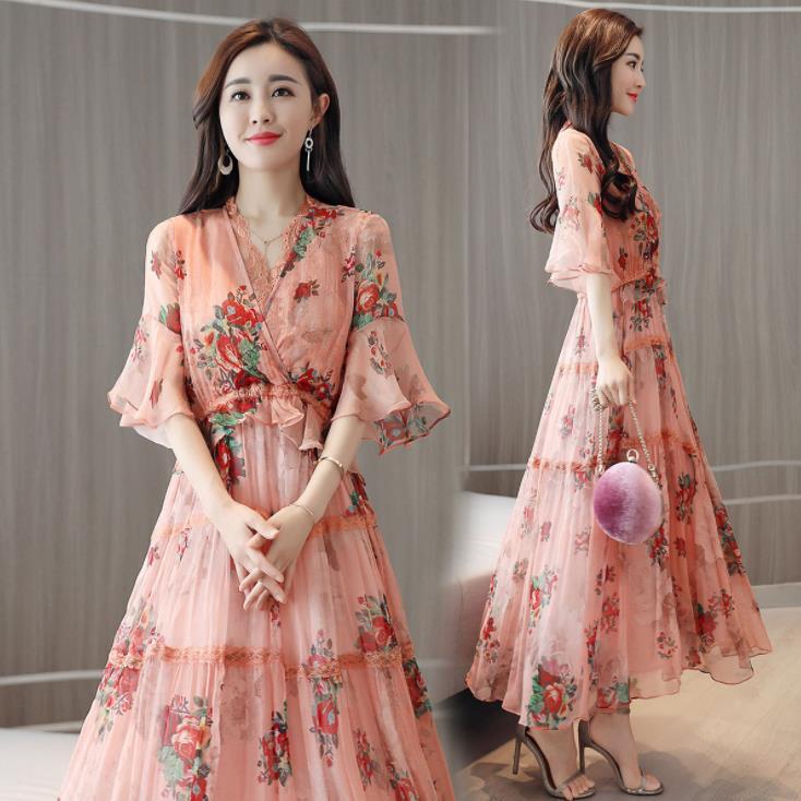 Fashion Elegant Pink Floral Midi Dress Lace V-neck Half Sleeve Chiffon Women Summer Ladies Dress Sundress Vestidos Ropa Mujer 24