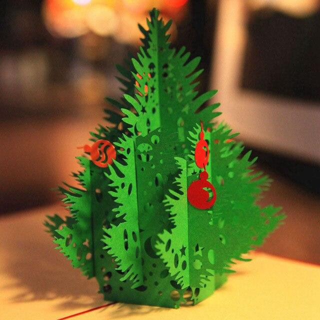 3d Laser Cut Handmade Verde Albero Di Natale Di Carta Invito